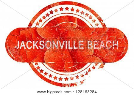 jacksonville beach, vintage old stamp with rough lines and edges