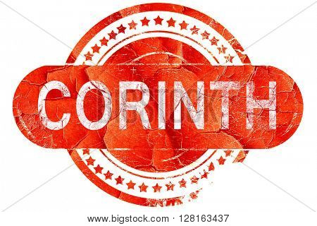 corinth, vintage old stamp with rough lines and edges