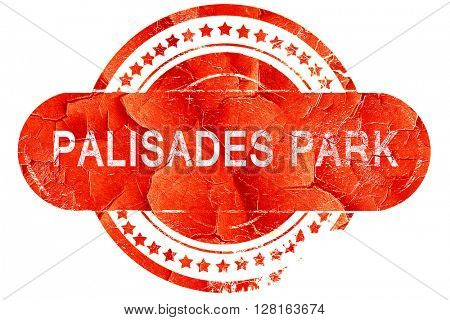 palisades park, vintage old stamp with rough lines and edges