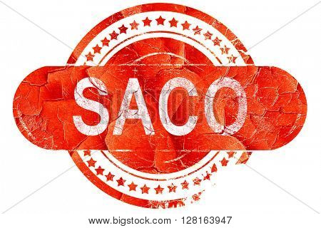 saco, vintage old stamp with rough lines and edges