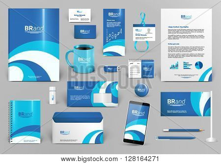 Blue branding design kit. Identity template for spa, shop, boutique, medical stomatology or beauty center. Business stationery mock-up. Editable vector illustration: folder, envelope, cup, card, etc.