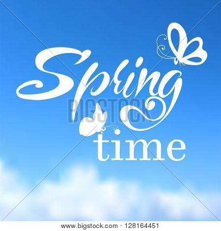 Typographic Design. Lettering Spring design on blurred background with butterflies