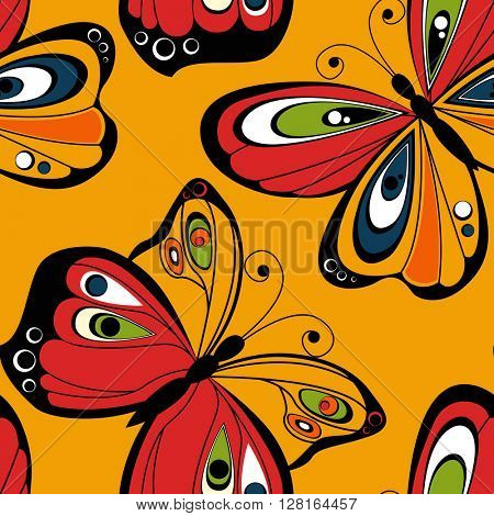 Flying butterfly seamless pattern. Bright  illustration