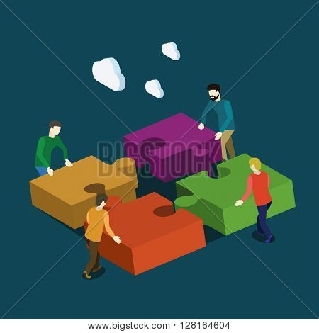 Businessmen team work with puzzles. Flat isometric vector illustration.