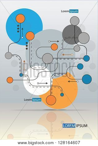 Abstraction background design with lines and circles.