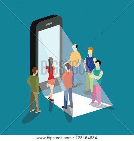 mobile app flat 3d isometry isometric concept  vector illustration. People standing near big smart phone touch screen. Creative people collection.