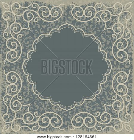 Vintage background old fashioned ripped grungy paper ornate royal revival frame old sticker victorian ornament floral luxury