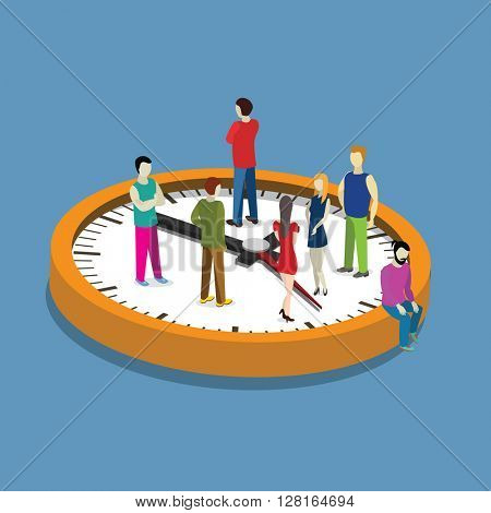 People on  a cloak time management concept. Flat isometric vector illustration.