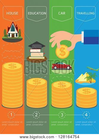 Personal money saving planning infographics template. Gold coins money stack. Vector illustration.