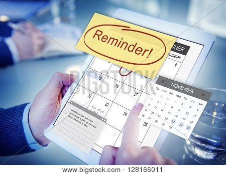 Reminder Important Memo Memory Notice Text Concept