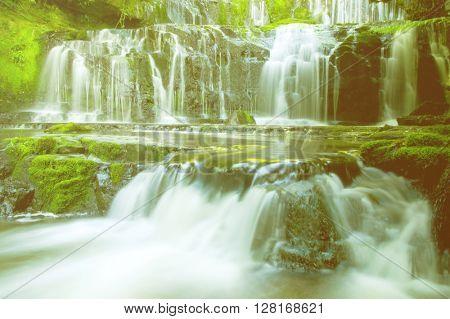 Cascading Falling Water Fresh Stream Rainforest Concept