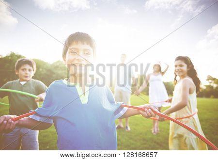 Family bonding in a park.