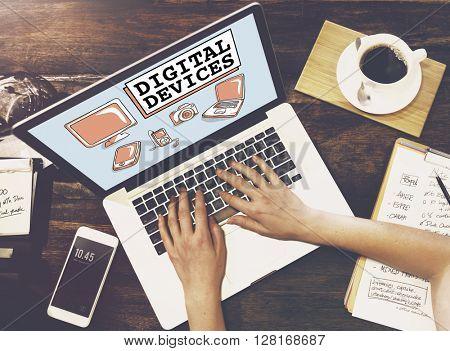 Digital Devices Electronics Connection Communication Concept