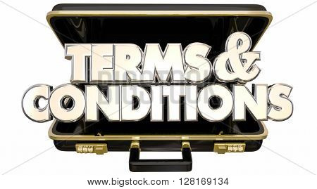 Terms and Conditions Legal Contract Fine Print 3d Words Briefcase