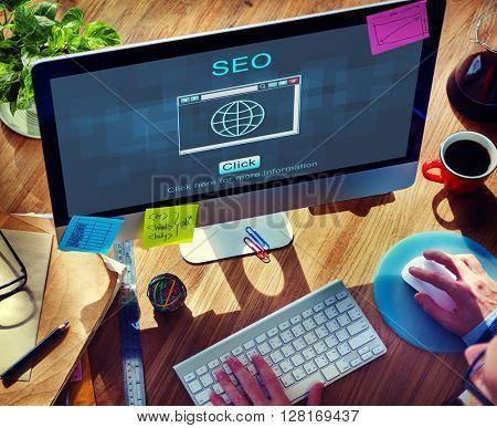 SEO Online Website Web Hosting Technology Concept