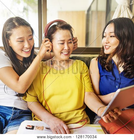 Mother Daughter Happiness Leisure Listening Music Concept