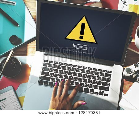 Warning Problem Spam Threat Online Website Concept