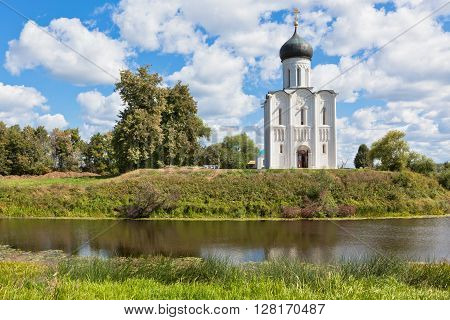 Church of the intercession on the Nerl river in Russia the village Bogolyubovo