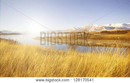 Cottage Rural Suburb Mountain Lake Crops Water Concept