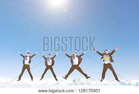 Businessmen Celebrating Christmas Snow Covered Mountain Concept