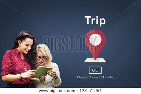 Trip Travel Destination Direction Map Concept