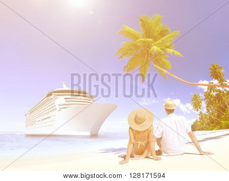 Love Couple Sitting Beach Concept
