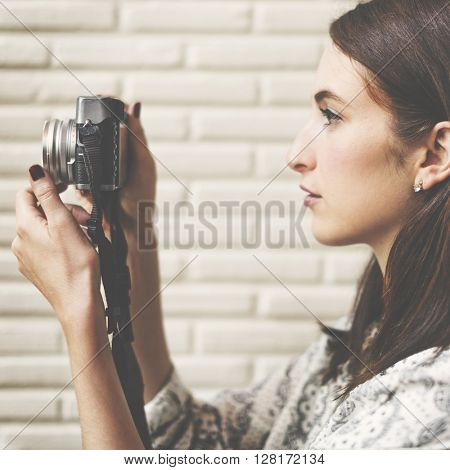 Girl Casual Camera Activity Photographer Leisure Concept