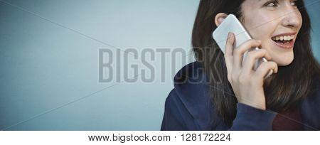 Girl Hoodie Cheerful Phone Call Concept