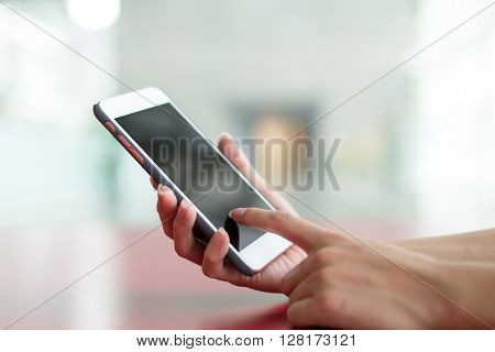 Human hand hold with smart phone