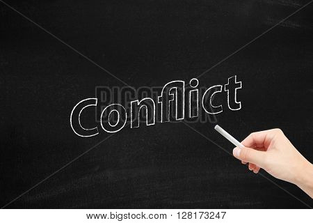 Conflict written on a blackboard