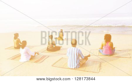 Healthy Yoga Class By The Beach Concept
