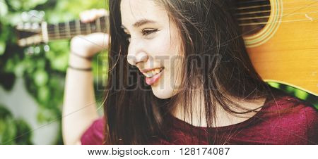Woman Guitar Musical Instrument Music Activity Concept