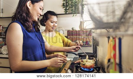 Mother Daughter Happiness Cooking Activity Concept