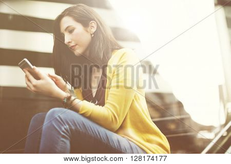 Woman Mobile Phone Connection Waiting City Technology Concept