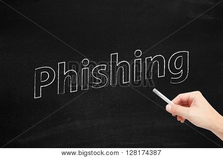 Phishing written on a blackboard
