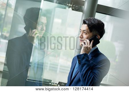 Businessman chat on cellphone phone