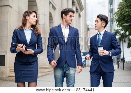 Business people walking together at outdoor
