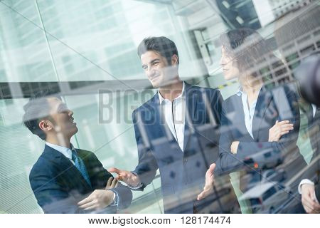 Business people discuss the project planning in office
