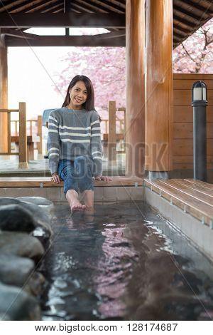 Woman enjoy onsen in japan