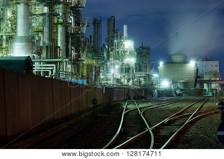 Industry factory at night