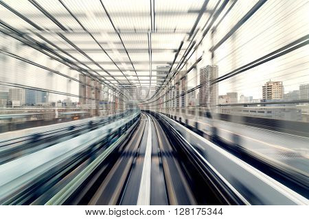 Motion blur of train moving inside tunnel in Tokyo