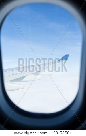 View from a window outside an airplane