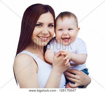 happy mother and her baby isolated against white background