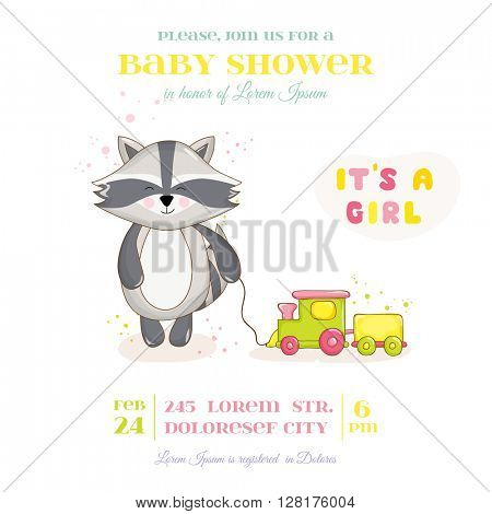 Baby Shower or Arrival Card - Baby Raccoon Girl - in vector