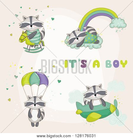 Baby Raccoon Set - Baby Shower or Arrival Card - in vector