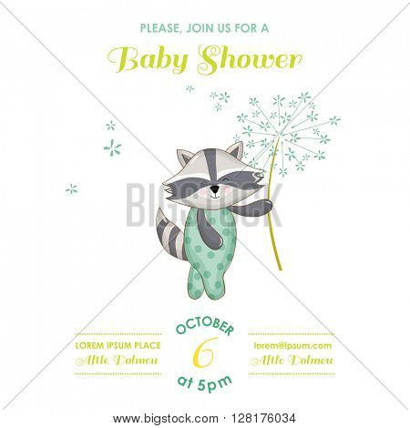 Baby Shower or Arrival Card - Baby Raccoon - in vector