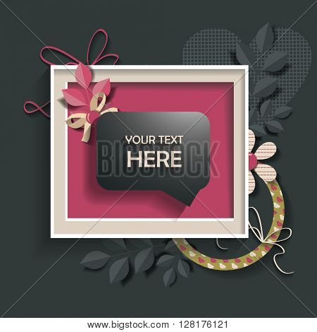 Info speech bubble in a frame .  scrapbook elements.  Design template for you text.