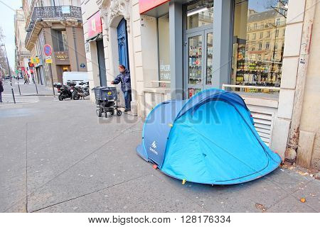 Paris, France, February 11, 2016: tent of homeless people in a center of Paris, France.