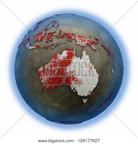 Australia On Brick Wall Earth
