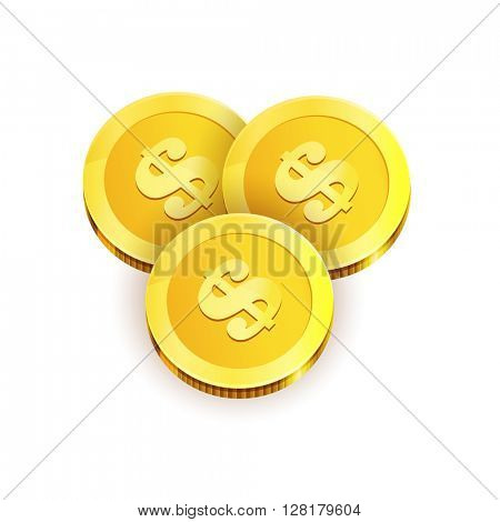 Vector Illustration of three golden coins. Isolated on white.